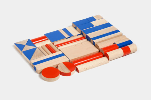 wooden building set BRIKULO blue and red
