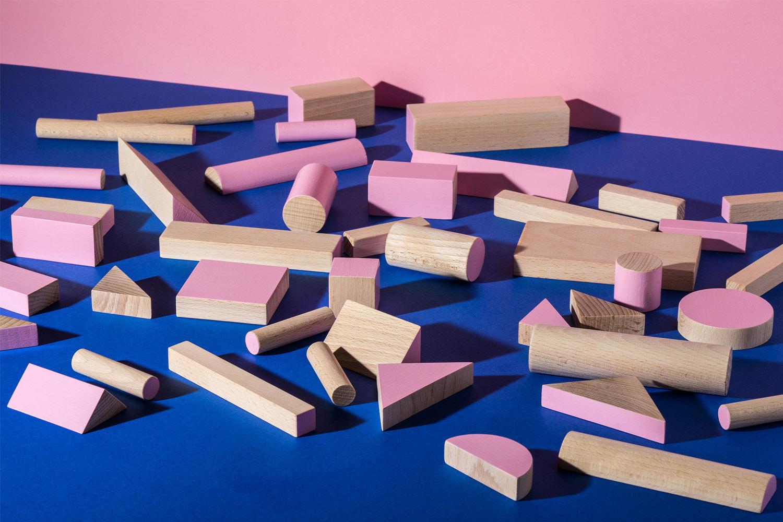 KUTULU dřevěná stavebnice BRIKULO růžová