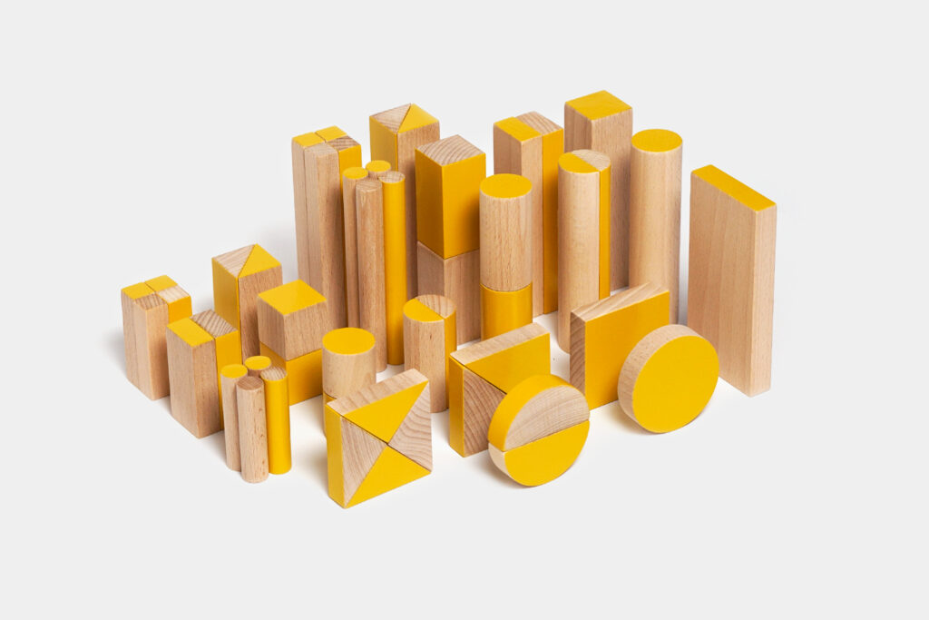 wooden building set BRIKULO yellow